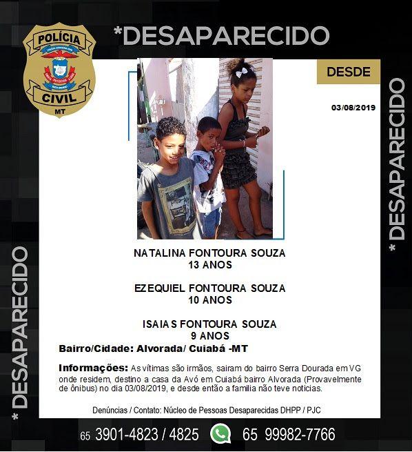 Várzea Grande - Polícia Civil pede informações que possam auxiliar buscas de três menores desaparecidos