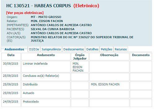 Terceiro HC de Silval é negado pelo STF; ex-governador continua preso